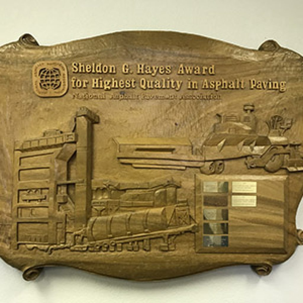 Sheldon G Hayes award plaque with Broce Construction on it
