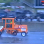 Broce 350 brooms were being used to help clear water off the track at the Honda Indy Grand Prix of Alabama